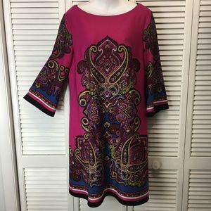 Peck & Peck collection shift dress pink paisley 16